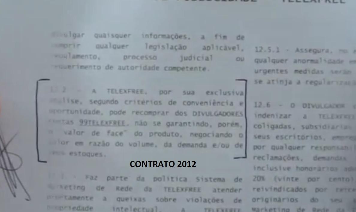 cláusula 12.2 Contrato 2012