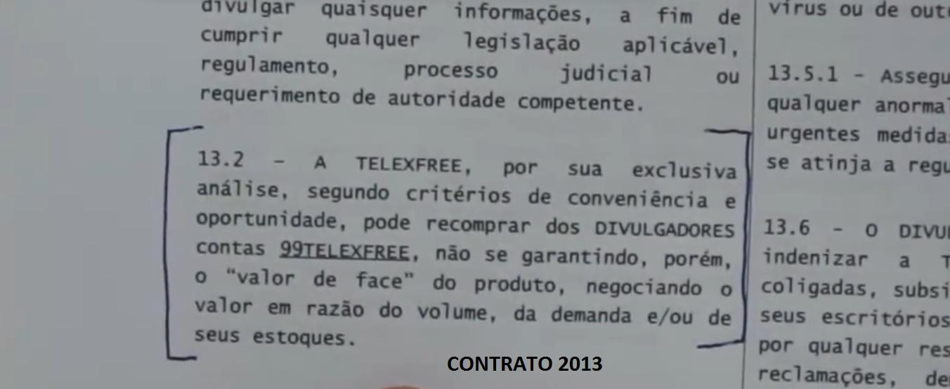 cláusula 13.2 Contrato 2013