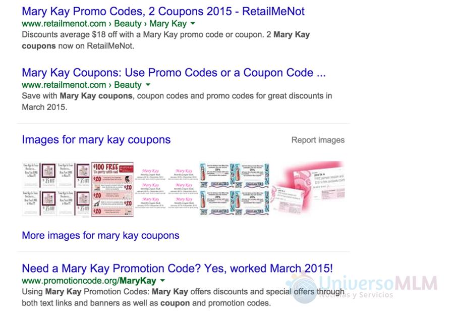 Oferta de la web para cupones descuentos para Mary Kay