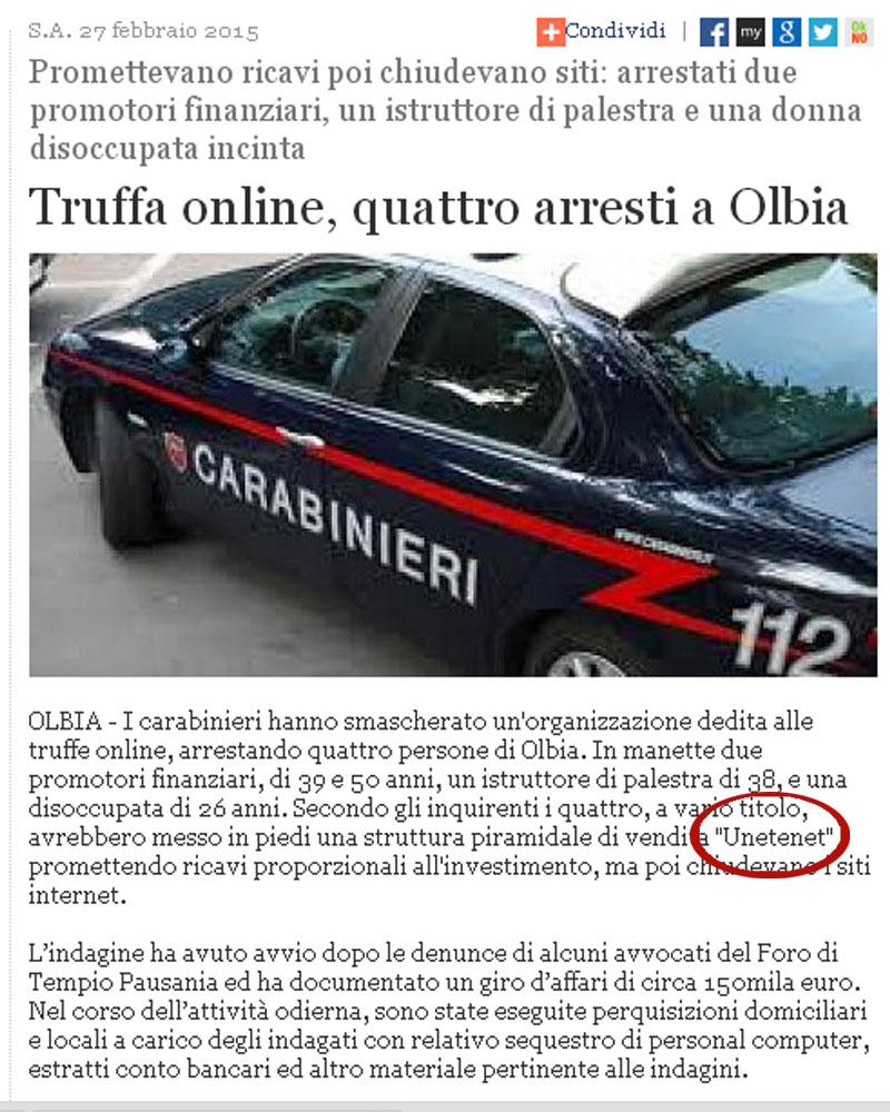 Artículo en el diario Sassarin con el suceso de Unetenet en Italia