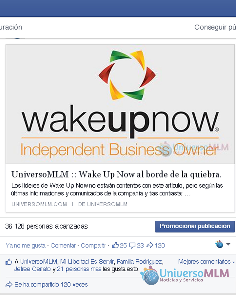 Wake Up Now en las redes sociales de UniversoMLM