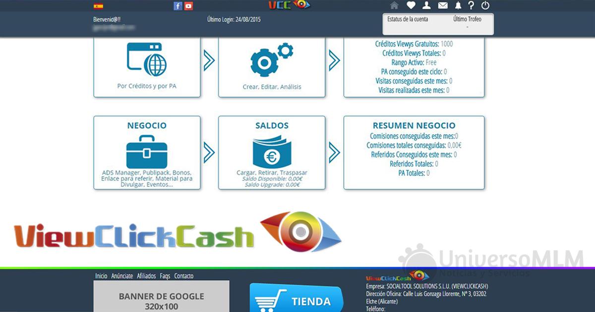 Imagen del nuevo back office de ViewClickCash