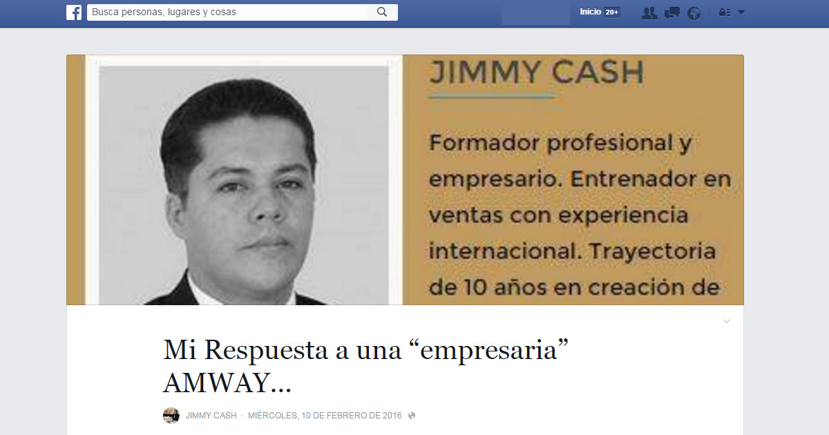 Jimmy Cash, el networkers que expone su malestar ante una situación de deslealtad
