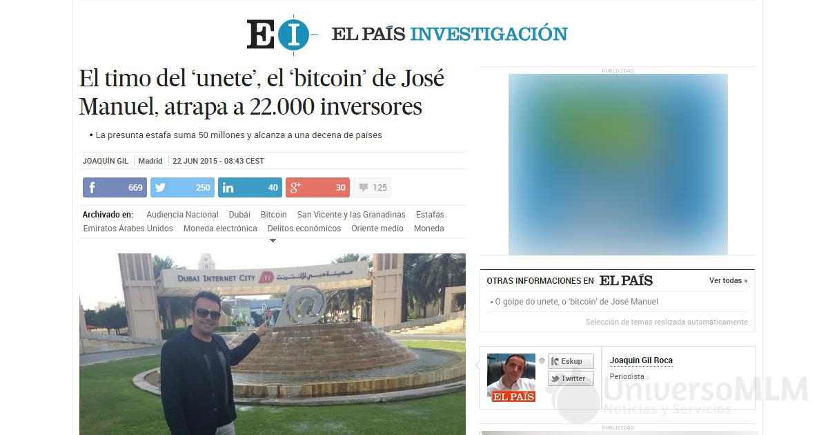 Portada digital de El País con el caso de fraude de Unetenet