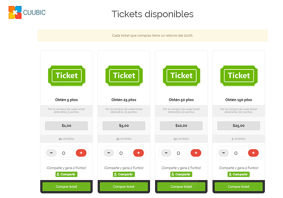 Cajero de tickets disponibles